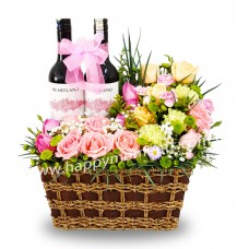Blooming Basket with wine